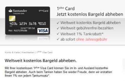 Kostenlose Visa Karte.1plus Card Santander